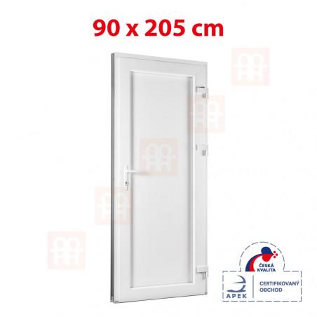 Plastové dveře | 90x205 cm (900x2050 mm) | bílé | plné | pravé