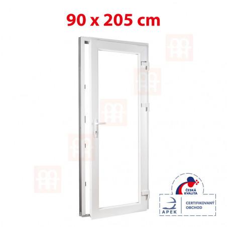 Plastové dveře | 90x205 cm (900x2050 mm) | bílé | prosklenné | pravé
