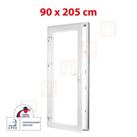 Plastové dveře | 90 x 205 cm (900 x 2050 mm) | bílé | prosklenné | levé