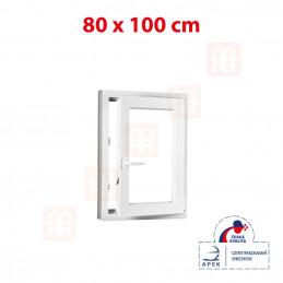 Plastové okno 80 x 100 cm, bílé, otevíravé i sklopné, pravé, 6 komor