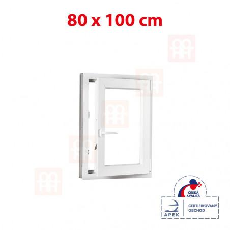 Plastové okno | 80 x 100 cm (800 x 1000 mm) | bílé | otevíravé i sklopné | pravé