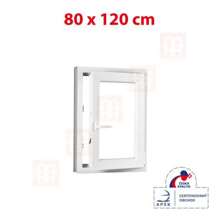 Plastové okno   80 x 120 cm (800 x 1200 mm)   bílé   otevíravé i sklopné   pravé