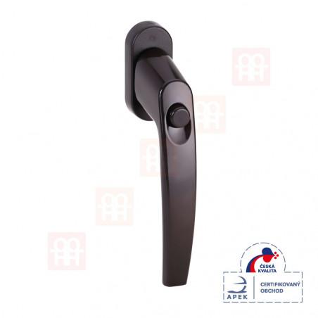 Bezpečnostní klika s blokovacím tlačítkem pro okna a balkónové dveře hnědá