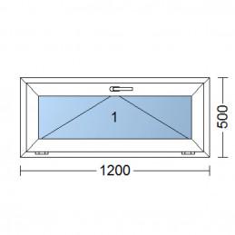 Plastové okno | 120x50 cm (1200x500 mm) | bílé | sklopné