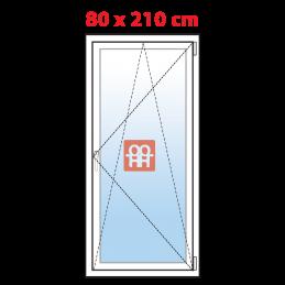 Plastové balkónové dveře 80x210 cm, bílé, otevíravé i sklopné, pravé, 5 komor, Aluplast Aluplast