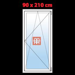 Plastové balkónové dveře 90x210 cm, bílé, otevíravé i sklopné, pravé, 5 komor, Aluplast Aluplast
