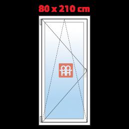 Plastové balkónové dveře 80x210 cm, bílé, otevíravé i sklopné, levé, 5 komor, Aluplast Aluplast