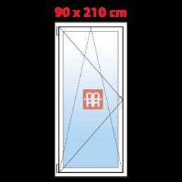 Plastové balkónové dveře 90x210 cm, bílé, otevíravé i sklopné, levé, 5 komor, Aluplast Aluplast