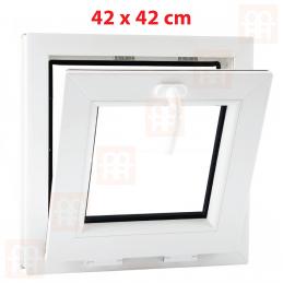 Sklopné plastové okno 42x42 cm, bílé, 6 komor Aluplast