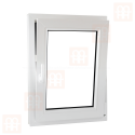 Plastové okno 80 x 120 cm, bílé, otevíravé i sklopné, pravé, 6 komor