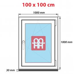 Plastové okno 100 x 100 cm, bílé, otevíravé i sklopné, pravé, 6 komor Aluplast