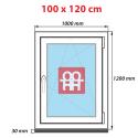 Plastové okno 100 x 120 cm, bílé, otevíravé i sklopné, pravé, 6 komor