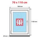Plastové okno 70x110 cm, bílé, otevíravé i sklopné, levé, 6 komor